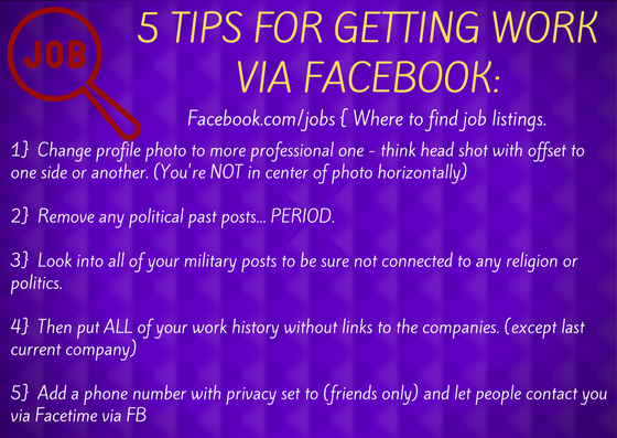 5 Tips For Getting Work Via Facebook By Tonie Boaman, Universal Resource Queen