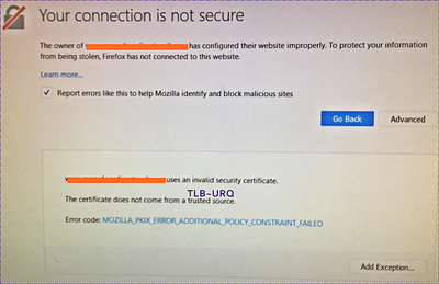 Mozilla Firefox Showing invalid SSL Certificate